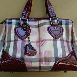 Burberry Tan and Red Coated Hearts Handbag